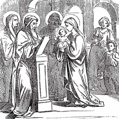 Baby Jesus presented in temple with Mary, Joseph, Simeon and Anna (Biblische Geschichte, Germany, 1859.)